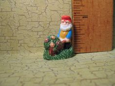 Garden GNOME Dwarf with wheelbarrow - French Feve Feves Porcelain Tiny Figurine Doll House Miniatures A23 by ValueARTifacts on Etsy
