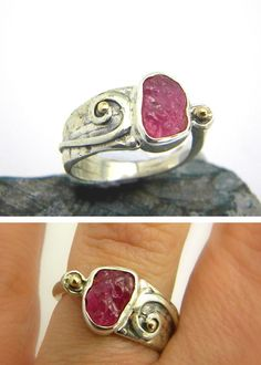 Ruby ring sterling silver rough gemstone ring  by nikiforosnelly