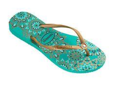 4403f0d0457b08 Havaianas Women`s Flip Flops Slim Illusion Mint Green Sandals SALE All Sizes  NWT Flip
