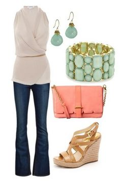 spring outfit Recreate with  Farrah Jean, Metallic Skinny Belt and New Wrap Top