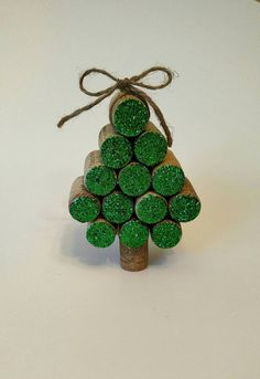 Wine Cork Christmas Tree Ornament by HappyHeartHomeDecor on Etsy