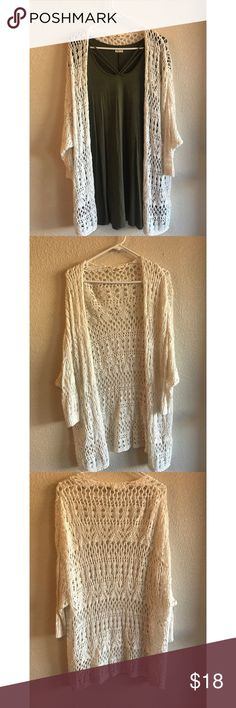 Hollister Co. Long White Knit Cardigan Hollister Co. long white knit cardigan. Perfect for summer and spring! Super cute and stylish. Great condition. Pictured with dress to give an idea of length. Dress is also available in my closet if interested. Hollister Sweaters Cardigans
