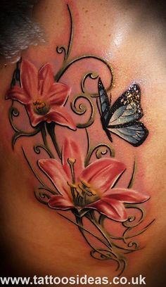 flower and butterfly tattoo hip - Google Search