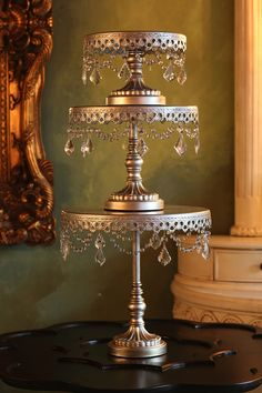 Chandelier Cake plates ~Set of 3~ Available in antique gold, antique silver and white! Created and TM design by Opulent Treasures! Thank you for your loyalty to Opulent Treasures!