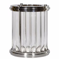 Gatsby Nickel & Crystal Rod Hurricane Candle Holder: The height of art deco elegance! The solid crystal rods reflect and refract the light from the candle inside, creating a glorious warm glow. All this is set off perfectly by the polished nickel fittings.   This item is very heavy. Please contact us for delivery quotes. Or visit the showroom to collect in person. Sorry, but a next day delivery service is not available for this product.