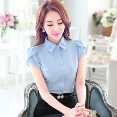 >> Click to Buy << Plus Size 2017 Summer Short Sleeve Blouse Women Fashion Blue Elegant Shirt Female Work Wear Office Ladies OL Tops Women Clothing #Affiliate