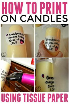 How to print on candles with tissue paper is a super easy DIY project that is great for a unique gift giving experience. How to print on candles with tissue paper is a super easy DIY project that is great for a unique gift giving experience. Diy Candle Printing, Velas Diy, Tissue Paper Crafts, Wax Paper, Felt Crafts, Printing On Tissue Paper, Photo Candles, Personalized Candles, Candlemaking