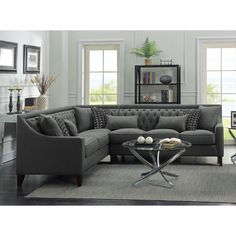 Iconic Home Aberdeen Linen Tufted Left Facing Sectional Sofa Grey is part of Contemporary Living Room Sectional - Depth (Sofa Side) 34 Tufted Sectional Sofa, Living Room Sectional, Living Room Furniture, Living Room Decor, Home Furniture, Gray Sectional, Large Sectional, Leather Sectional, Black Furniture