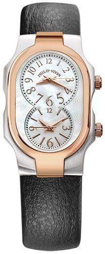 Philip Stein Signature Small Womens Stainless Steel Plated Rose Gold Dual Time Watch  Black Leather Band Natural Frequency Technology Philip Stein Watch 1TRGFMOPCB >>> Check out this great product.Note:It is affiliate link to Amazon.