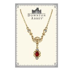 Downton Abbey® Boxed Gold-Tone Red Crystal Drop Necklace