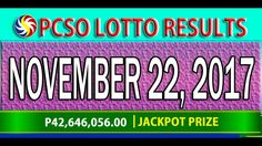 PCSO Lotto Results November 22, 2017 (6/55, 6/45, 4D, SWERTRES & EZ2 LOTTO) Lotto Results, Youtube, November 23, Youtubers, Youtube Movies