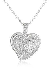 Sterling Silver Simulated Diamond Pave Heart Pendant, 18""