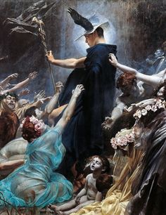 Adolf Hirémy-Hirschl, The Souls of Acheron (detail). 1898. - Acheron had been a son of Helios and either Gaia or Demeter, who had been turned into the Underworld river bearing his name after he refreshed the Titans with drink during their contest with Zeus.