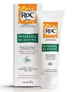 ROC - Minesol Oil Control - horroroso! a tenebrosa nova formulação aabou com um protetor solar que era perfeito! atualmente: toque super seco. mas deixa a pele esbranquiçada, o que piora muito com o suor, esfarela na aplicação e não dura nada na pele.