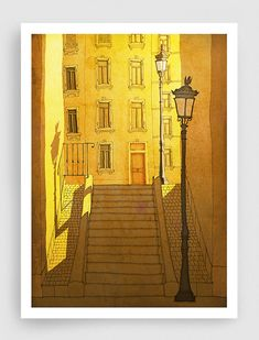 SALE, Paris illustration - Morning Shine - Paris Montmartre,Art,Fine art illustration,Art print,Art Poster,Paris art,Paris decor,sunshine,ye...