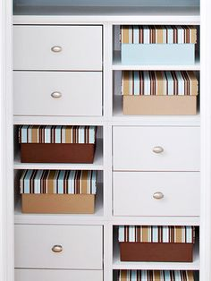 Built-In Dresser - To make every inch count, give ready-to-assemble cubes a custom fit in the closet by trimming them with quarter round molding and topping with a piece of painted plywood. As an alternative, you could just slide them in, anchoring them to one another and to the back wall.