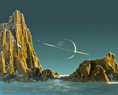 Saturn as seen from Titan, painting by Chesley Bonestell