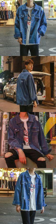 2017 autumn MEN Hot sale Korean version loose holes Denim jacket men fashion personality street style blue coat nice clothes
