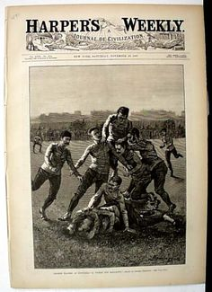 "Harper's Weekly, November 1887 ""College Players at Foot-Ball -- A Tackle and Ball-Down"""