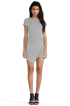 love the asymmetrical hemline + horizontal stripes