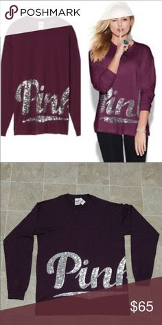 NWT VS PINK maroon sequin campus tee NWT VS PINK maroon sequin campus tee / tshirt / burgundy // size XS PINK Victoria's Secret Tops Tees - Long Sleeve