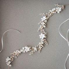 Inspired by the bride who lives and breathes by the sea, the Cassia floral bridal headpiece is an endlessly inspiring piece of ethereal style. Bridal Headdress, Floral Headpiece, Pearl Headpiece, Headpiece Wedding, Bridal Headpieces, Hair Jewels, Bridal Hair Vine, Wedding Hair Pieces, Wedding Hair Accessories