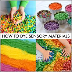 Rainbow sensory play guide: how to dye sensory bin fillers from oats to rice to salt, oatmeal, oat Autism Activities, Sensory Activities, Infant Activities, Activities For Kids, Crafts For Kids, Day Care Activities, Sorting Activities, Motor Activities, Indoor Activities