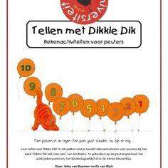 Peuterproject-tellen-met-dikkie-dik-1Leer tellen met Dikkie Dik! In dit pakket vind je twaalf rekenactiviteiten voor peuters bij het boek 'Dikkie Dik telt voor tien' van Jet Boeke. Te gebruiken op de peuterspeelzaal, het asielzoekerscentrum, het kinderdagverblijf of in de eerste kleuterklas.