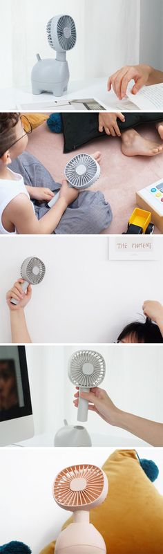 The designers took the rather uninteresting fan and gave it a fun and friendly personality. The fan replaces the head of the pet, and the smooth oscillation brings an element of life and character to the 'animal'. What makes this product so usable is the versatility of it, not only does it make for a great desk fan, but also an excellent and convenient hand fan; The fan can be removed from the body and used independently, making it truly portable.