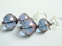 Purple lantern earrings glass silver dangle by handmadeintoronto, $18.00