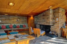 Fireplace in the Seth Peterson Cottage, Mirror Lake, Wisconsin, a1958 Frank Lloyd Wright masterpiece. Photo by Kit Hogan