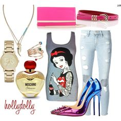 Untitled #16 by zuzkasvk on Polyvore featuring polyvore fashion style Disney Frame Denim Christian Louboutin Jimmy Choo DKNY Banana Republic M.N.G Cuteberry Moschino