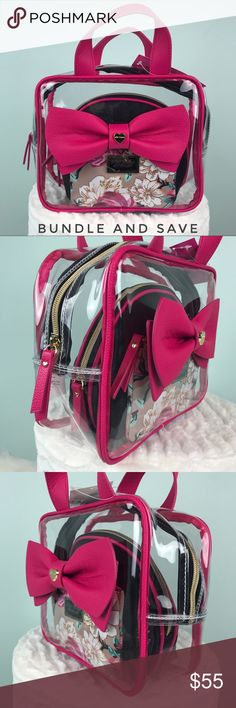 Betsey Johnson 3 pc weekender cosmetic bags set • new with tags - nwt •  betsey a168b625163b8