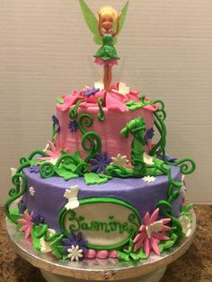 #tinkerbell #cake #vines #forest #flowers #butterflies #edible #leaves #sparkles #sprinkles #icing #fondant #barbiedoll #barbie