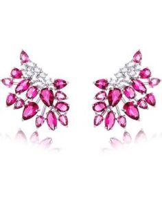 ear cuff rubi com zirconias cristais e banho de rodio semi joias modernas coleção 2017