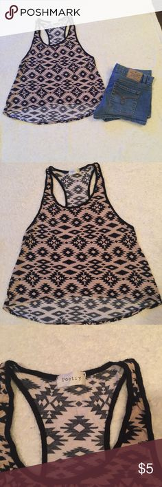 4 FOR $10 AZTEC RAZORBACK TANK TOP S VERY CUTE AZTEC CUTE RAZORBACK TANK TOP.  BLACK & BEIGE.  IM HAVING A SALE!  EVERYTHING $10 AND UNDER IS 4 FOR $10.  EVERYTHING $20 AND UNDER IS 3 FOR $20.  PLEASE FEEL FREE TO ASK QUESTIONS! Poetry Tops Tank Tops