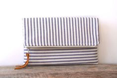 foldover clutch purse in blue and cream ticking / nautical / stripes / summer and fall fashion / shabby chic $36