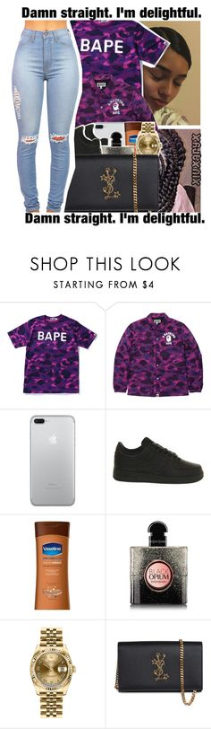 """""""💨."""" by xluxaryx ❤ liked on Polyvore featuring A BATHING APE, NIKE, Yves Saint Laurent and Rolex"""