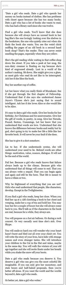 Read this and you'll know why girls that read are amazing. I would be one of those girls :).