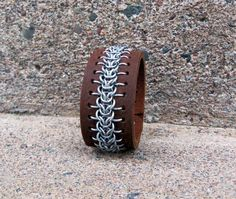 Leather Chainmail Cuff by CopperTreeDesign on Etsy