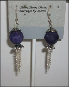 Dark Purple Druzy Agate Earrings with Chains by ChainChainChains