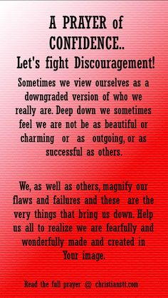 A PRAYER of CONFIDENCE.. Let's fight Discouragement!