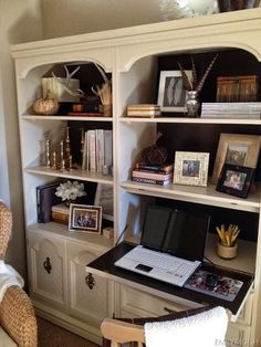I wonder if I could make a drop down desk on the left side of our built ins in the living room. Looks easy enough