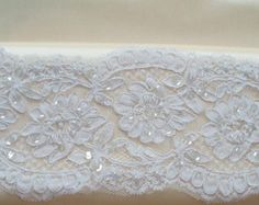 White Alencon Lace Trim, Bridal Lace, Wedding Gown Lace, Beaded Lace, Corded Lace - 1 Yard