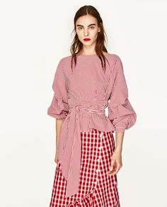 STRIPED BLOUSE WITH PLEATED SLEEVES AND BOW BELT
