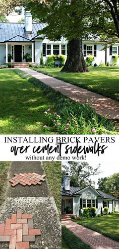 Installing Brick Pavers Over Existing Cement Sidewalk without any demo work. A great before and after of exterior curb appeal creating a new brick sidewalk. Brick Driveway, Brick Paver Patio, Brick Path, Paver Walkway, Cement Patio, Brick Garden, Walkways, Brick Walkway Diy, Small Brick Patio