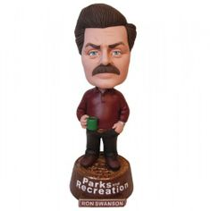 Parks and Recreation Ron Swanson Bobblehead by Innotrac - NBC Universal. $19.95. Dimensions: Approx 8 inches tall. The Parks and Recreation Ron Swanson Bobblehead has finally arrived! Ron Swanson has been Director of the Pawnee Parks and Recreation Department for six years. Ron believes in the elimination of government waste and has always brought the department in under budget. In 2007, the Parks and Recreation department spent zero dollars and sixty cents out of its...