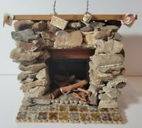 Dollhouse Furniture Miniature Stone Fireplace Tile Hearth Wired light untested