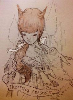 Artwork by Chiara bautista Illustrations, Illustration Art, Chiara Bautista, Pop Art, She Wolf, The Draw, Art Moderne, Heart Art, Art Reference