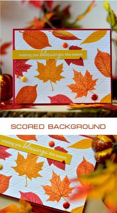 A scored card background adds interesting texture to this Fall card by Svitlana Shayevich